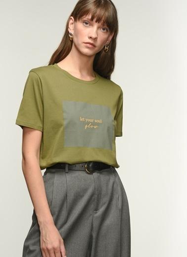 NGSTYLE Kadın Baskılı  Tişört NGKSS21TS0012 Haki